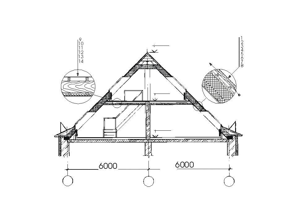 Схема двухуровневой конструкции мансарды